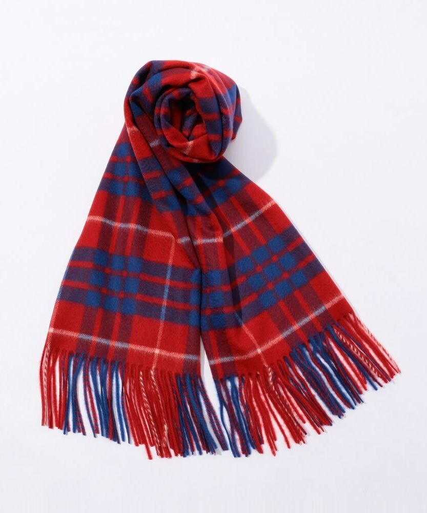 TOMORROWLAND Cashmere check scarf Red and Blue