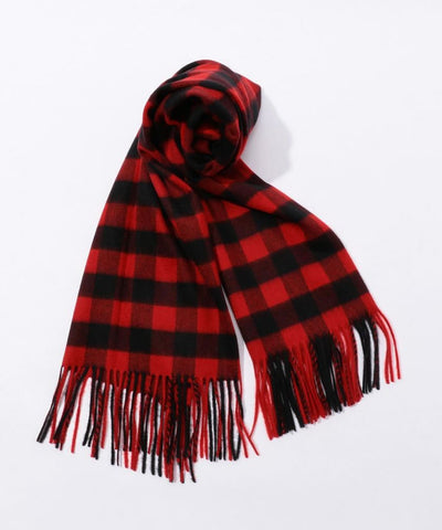 TOMORROWLAND Cashmere check scarf Red and Black