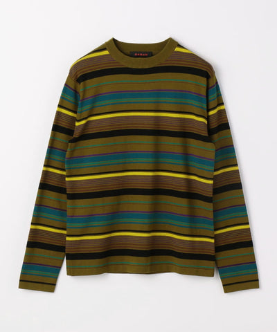CABaN  Cotton cashmere multi border crew neck pullover Khaki Green
