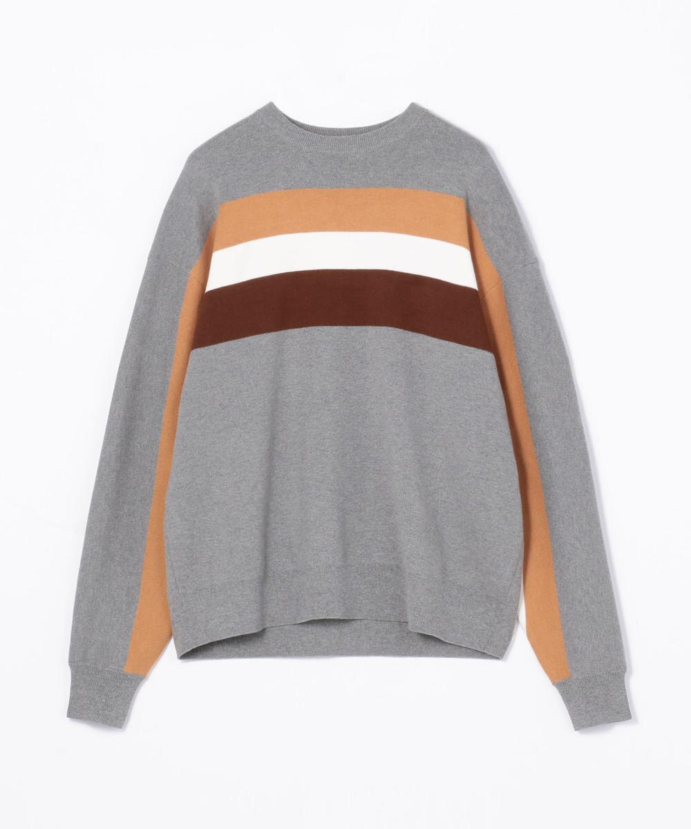 CABaN  Cotton cashmere wide border crew neck pullover Gray