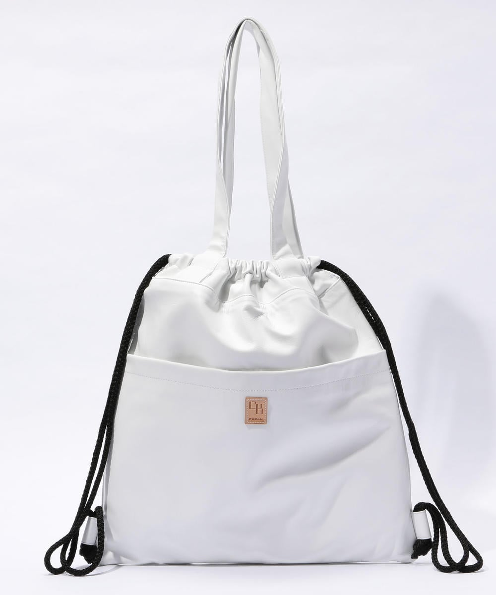 CABaN Lamb Leather 2-way Medium Sized Tote Bag White