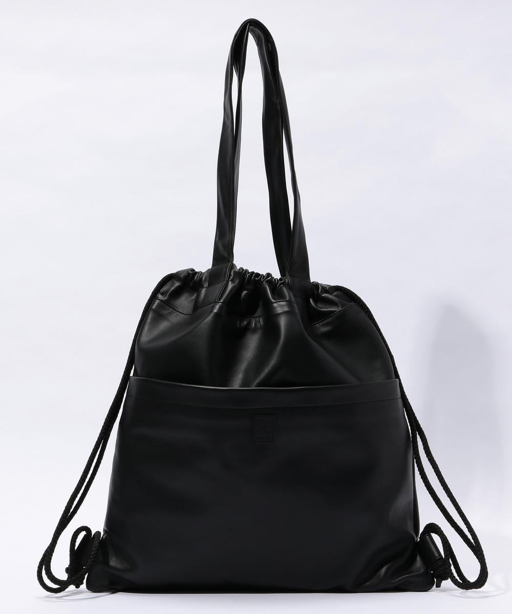 CABaN Lamb Leather 2-way Medium Sized Tote Bag Black