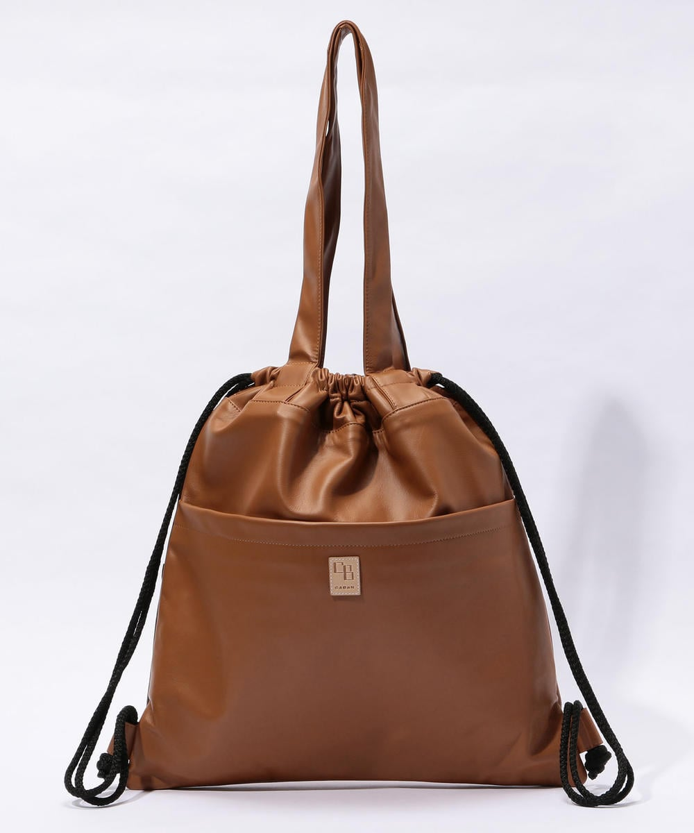 CABaN Lamb Leather 2-way Medium Sized Tote Bag Brown