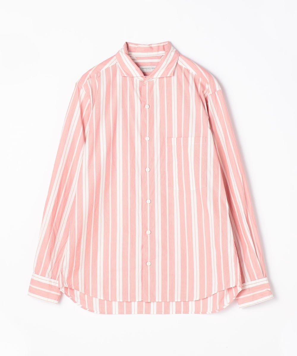 63010101102 - TOMORROWLAND Cotton Stripe Horizontal Collar Shirt - Red 36