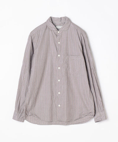 TOMORROWLAND Cotton Poplin Stripe Horizontal Collar Shirt