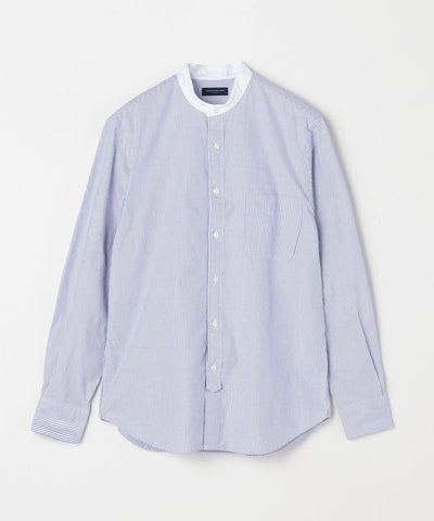 Cotton Oxford Band Collar Shirt