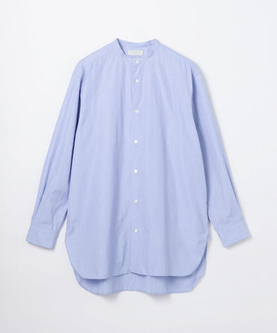 British poplin oversize band collar shirt