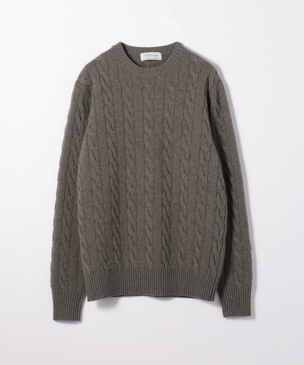 Super fine lamb wool cable crew neck knit