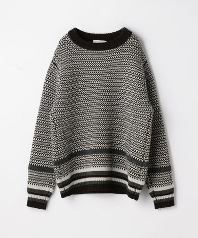 Multi Jacquard Crew Neck Knit