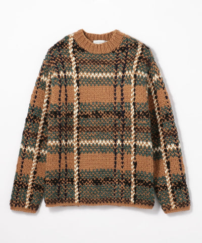 Hand check jacquard crew neck knit