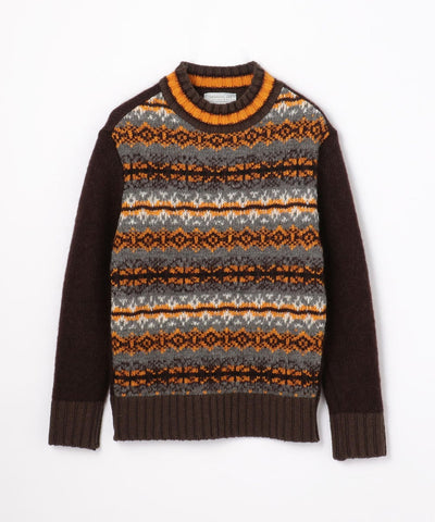 TOMORROWLAND Fair Isle Jacquard Mock Neck Crew Neck Knit