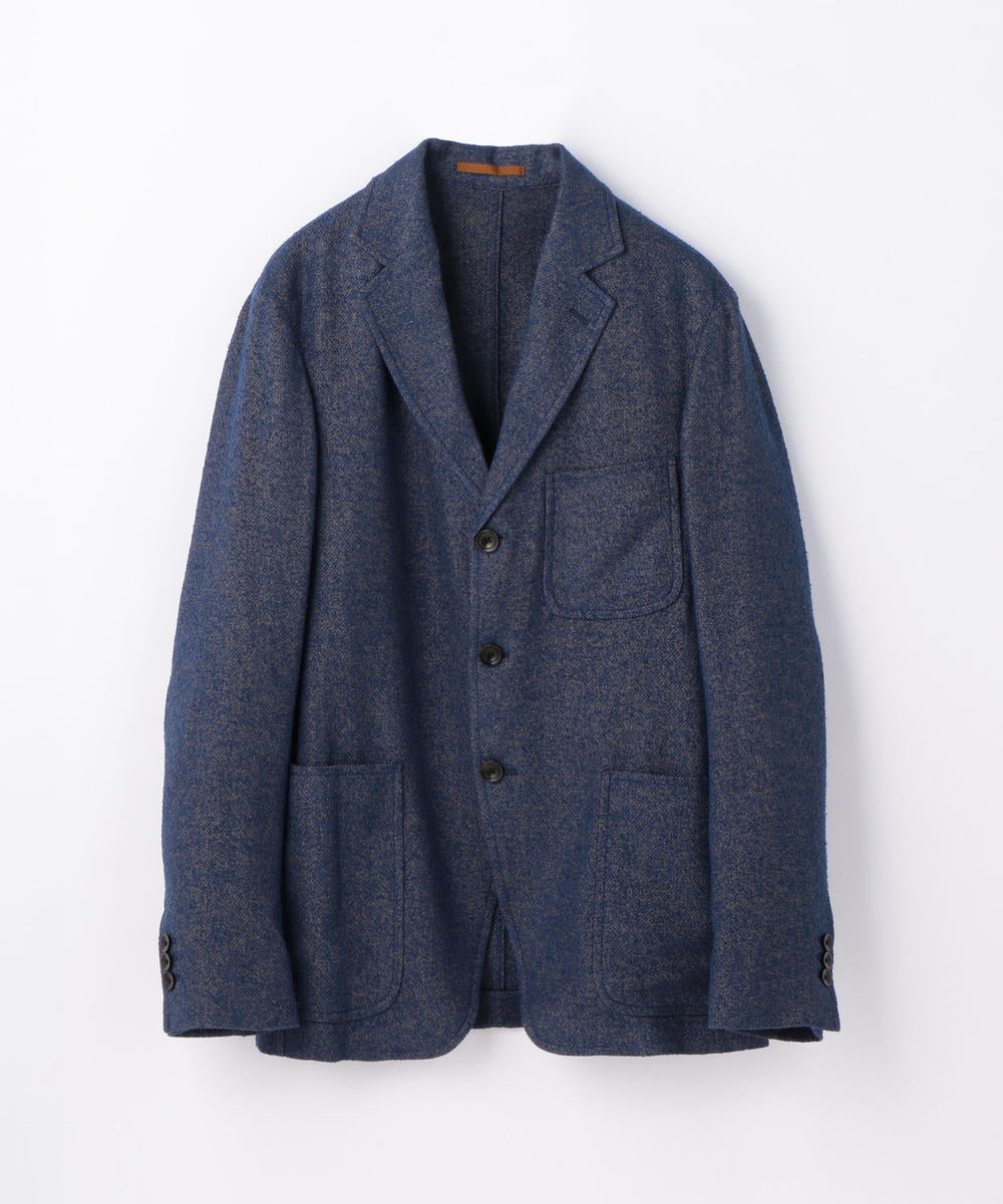 Linen and Cotton Blend Ring Jacket Blue