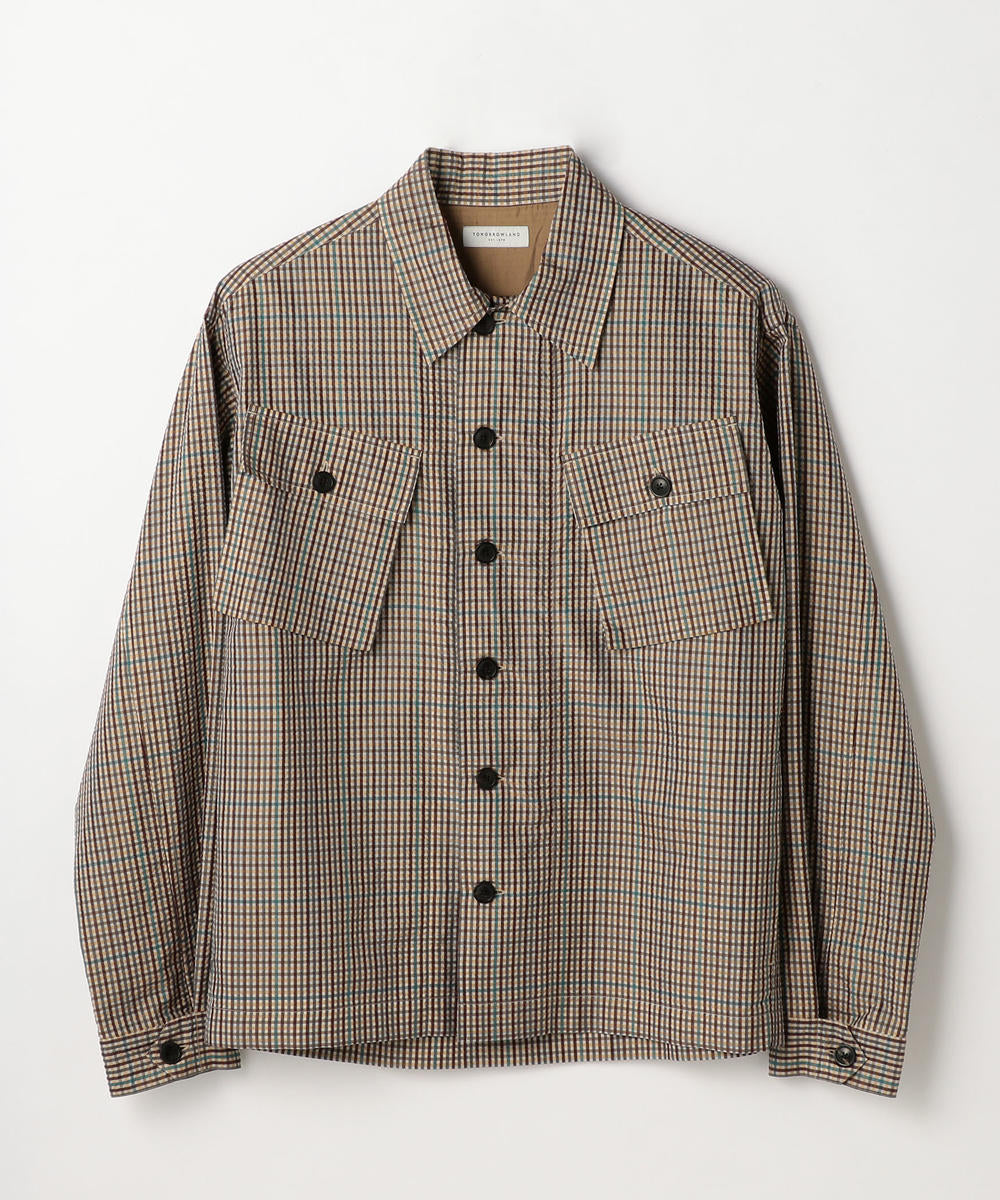 Silk Sucker Shirt Blouson Jacket Brown