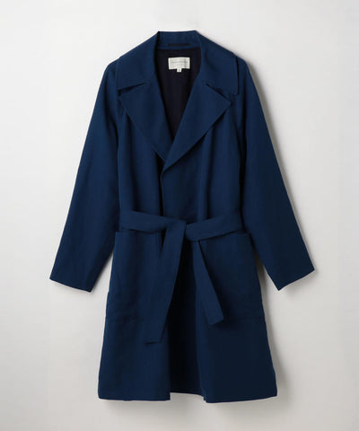 Cotton Linen Kersey Coat Blue