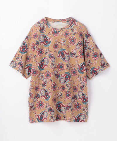 Paisley Print Crew Neck T Shirt Brown