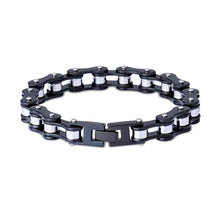 Load image into Gallery viewer, Motorcycle Chain Bracelet (Black and Silver)