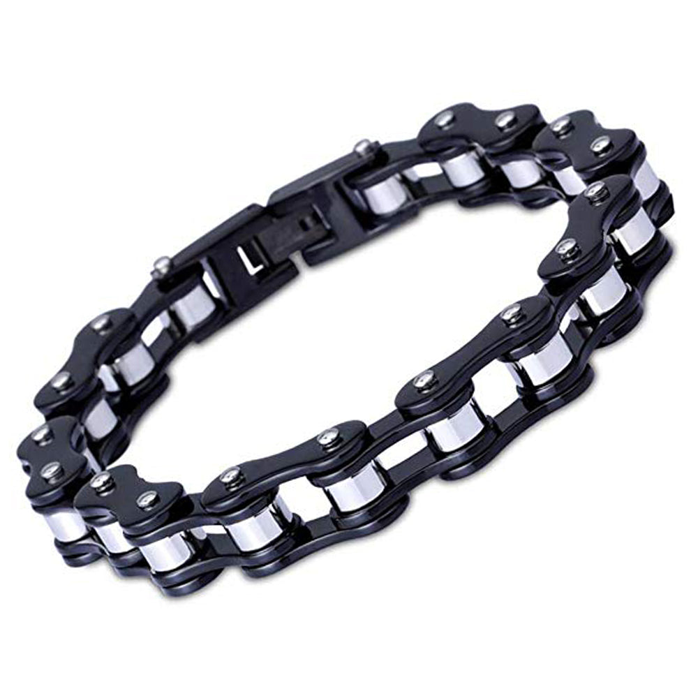 Motorcycle Chain Bracelet (Black and Silver)