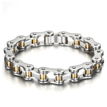 Load image into Gallery viewer, Motorcycle Chain Bracelet (Silver and Gold)