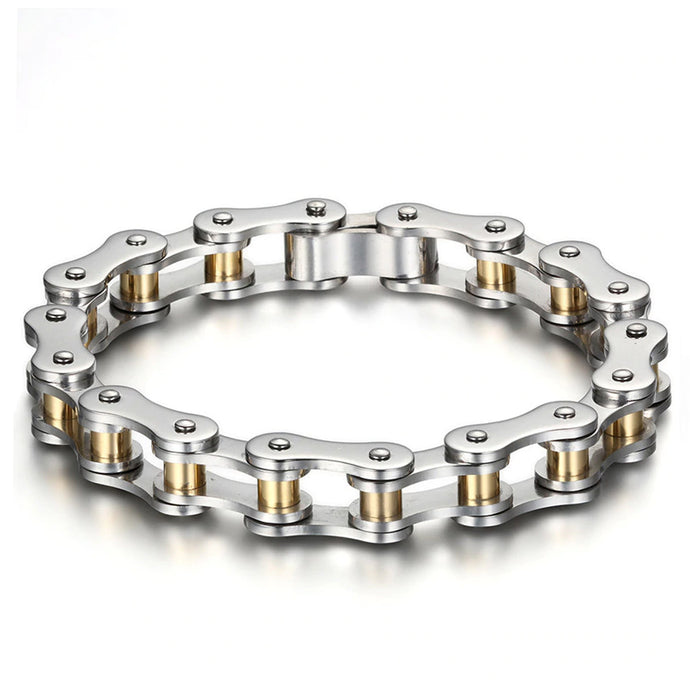 Motorcycle Chain Bracelet (Silver and Gold)