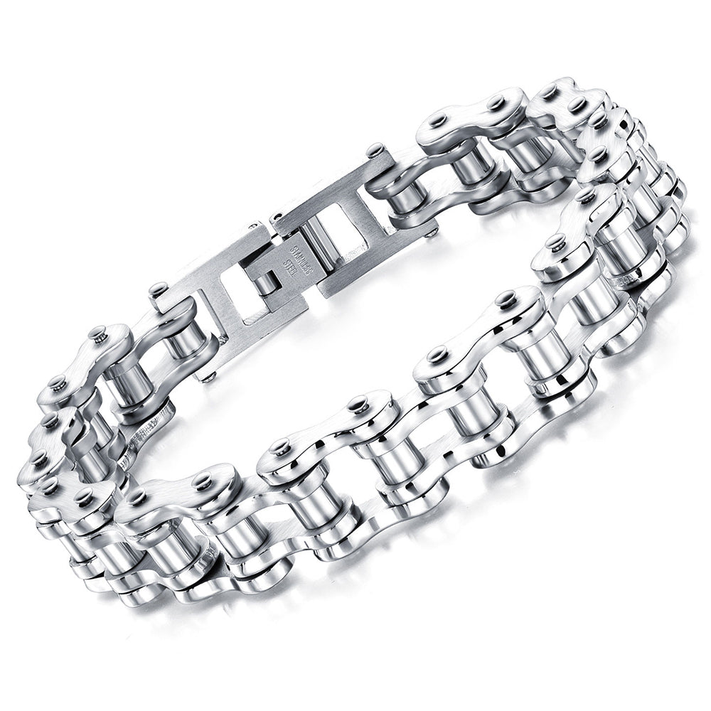 Motorcycle Chain Bracelet (Silver)