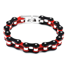 Load image into Gallery viewer, Motorcycle Chain Bracelet (Black and Red)