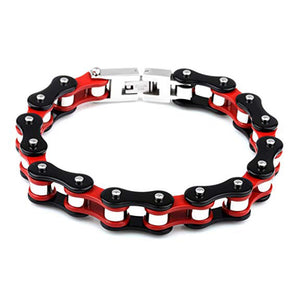 Motorcycle Chain Bracelet (Black and Red)