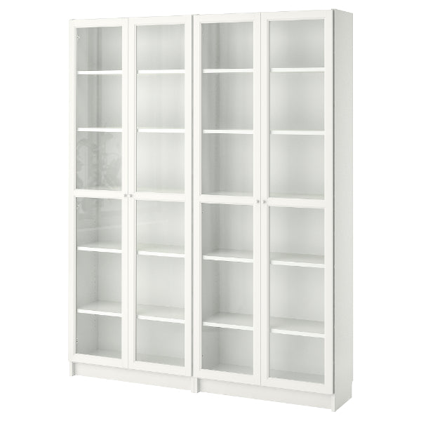 IKEA BILLY Bookcase with glass doors, white, 160 cm