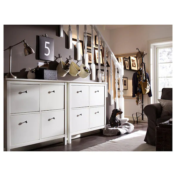 IKEA HEMNES Shoe cabinet with 4 doors, white, 107x101 cm