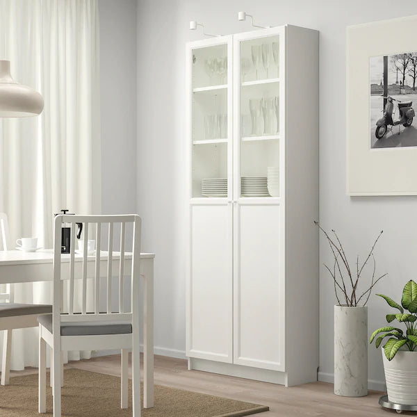 IKEA BILLY Bookcase with glass/panel doors, white, 80 cm