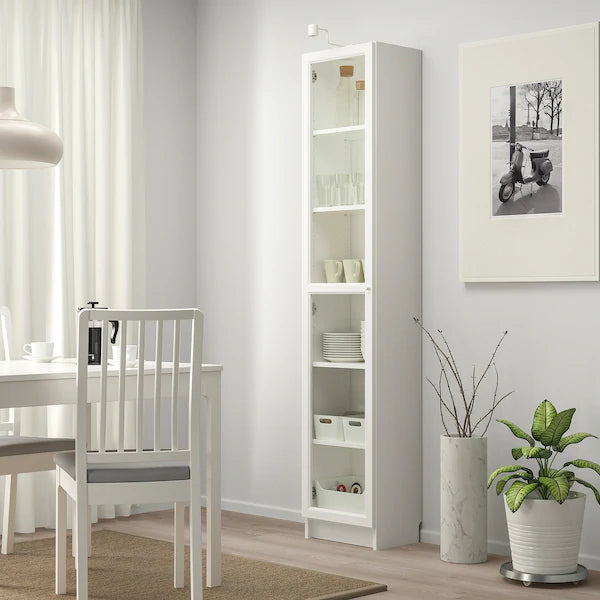 IKEA BILLY Bookcase with glass door, white, 40 cm