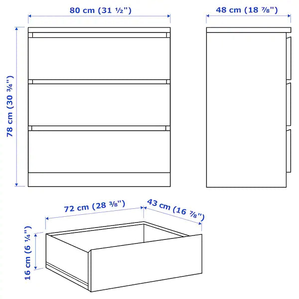 IKEA MALM Chest of 3 drawers, 80x78 cm