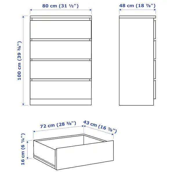 IKEA MALM Chest of 4 drawers, 80x100 cm