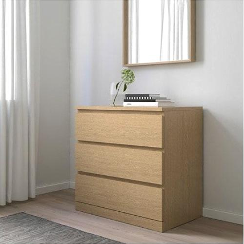 IKEA MALM Chest of 3 drawers, oak