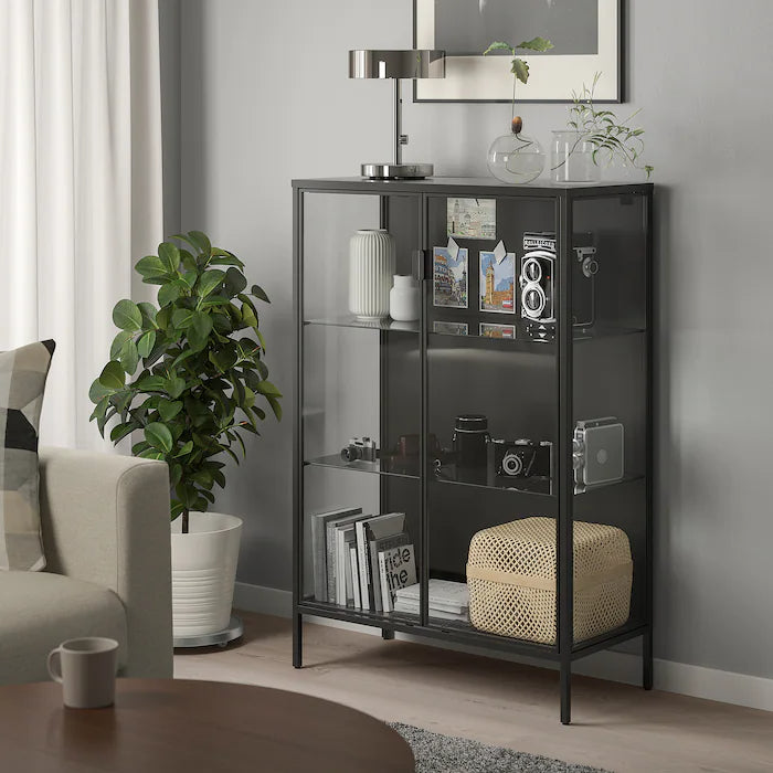 IKEA RUDSTA Glass-door cabinet, anthracite, 80x37x120 cm