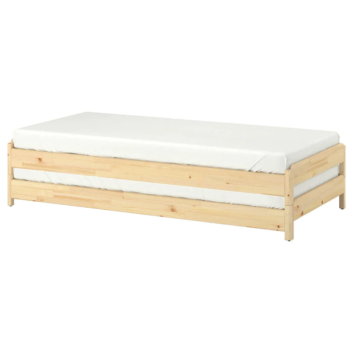IKEA UTAKER Stackable bed with 2 mattresses, pine, 80x200 cm