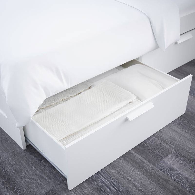 IKEA BRIMNES Bed frame with headboard, white, queen