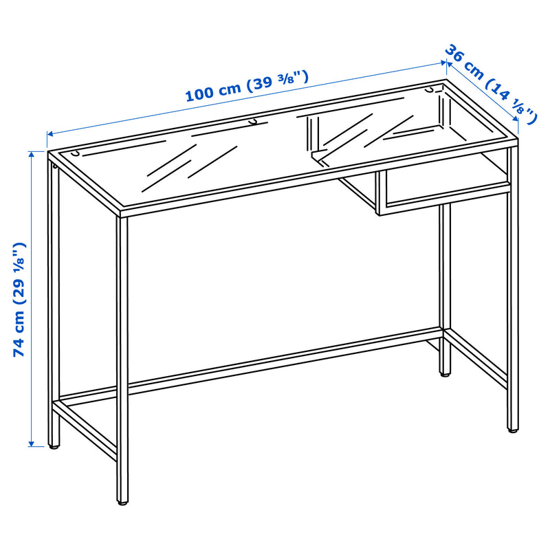 IKEA VITTSJO glass Laptop table, 100 cm, 2 colors
