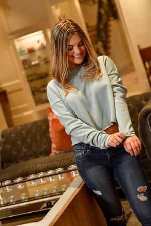 Dusty Blue Crop Fleece - Shop La's Showroom
