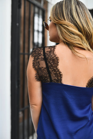 Midnight Madness Lace Tank - Shop La's Showroom
