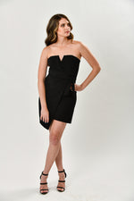 Sleek Black Dress With Tie - Shop La's Showroom