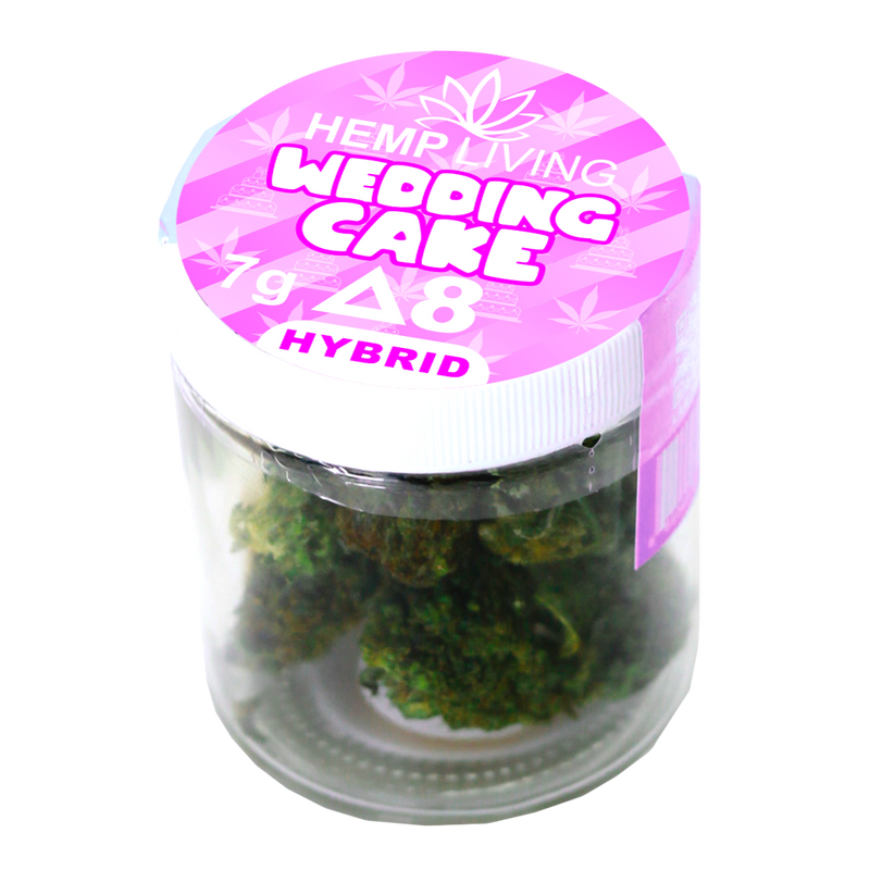 Hemp Living - Delta 8 Flower 7g Jar - Wedding Cake High Potency Kief Infused