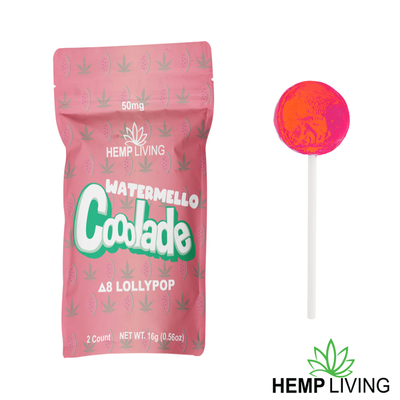 Hemp Living - Delta 8 Lollipops 50mg (2-Pack) Watermello Cooolade