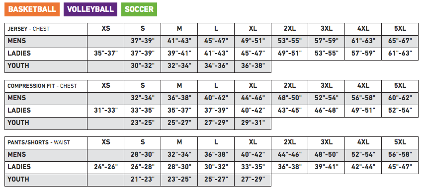 Athletic Knit Sizing Chart - Basketball, Volleyball, Soccer