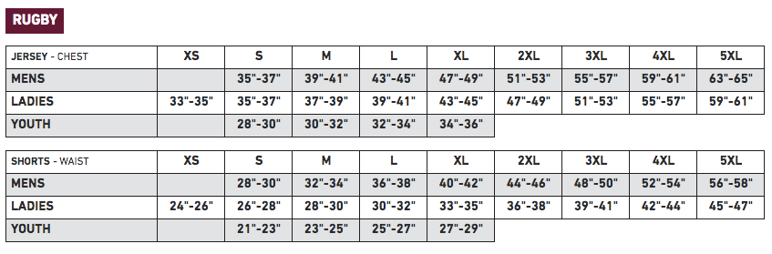 Athletic Knit Sizing Chart - Rugby