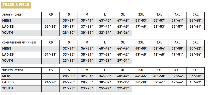 Athletic Knit Sizing Chart - Track & Field