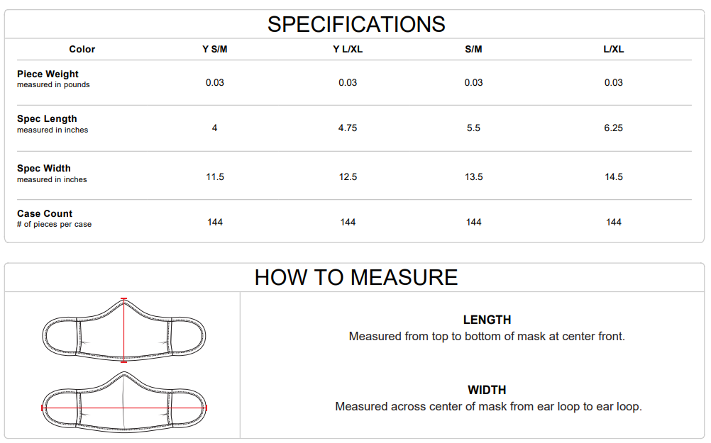 Badget Sport B-Core 3-PlyFace Masks Sizing Guide