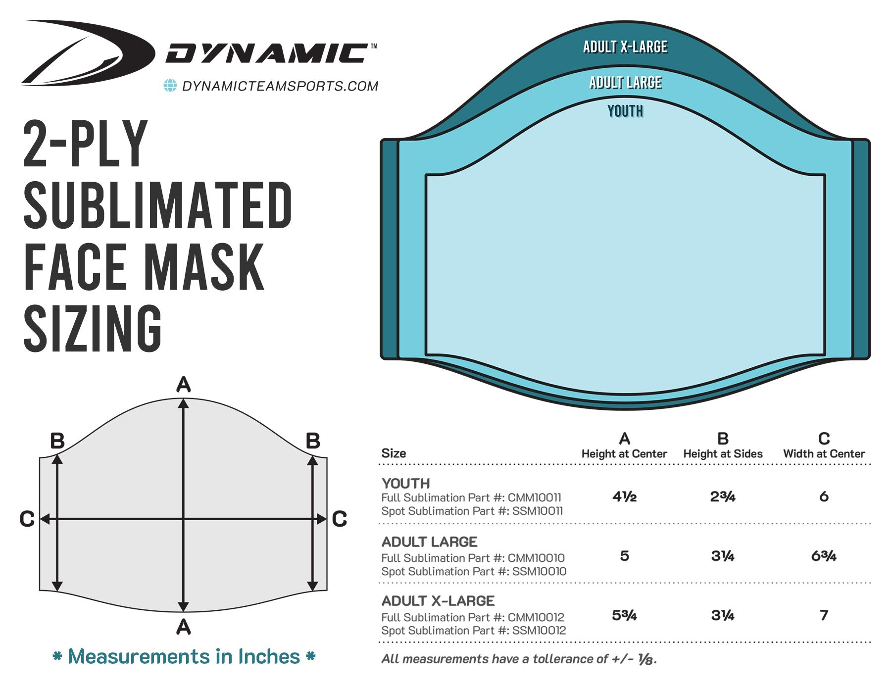 Dynamic Team Sports Face Masks Sizing Guide