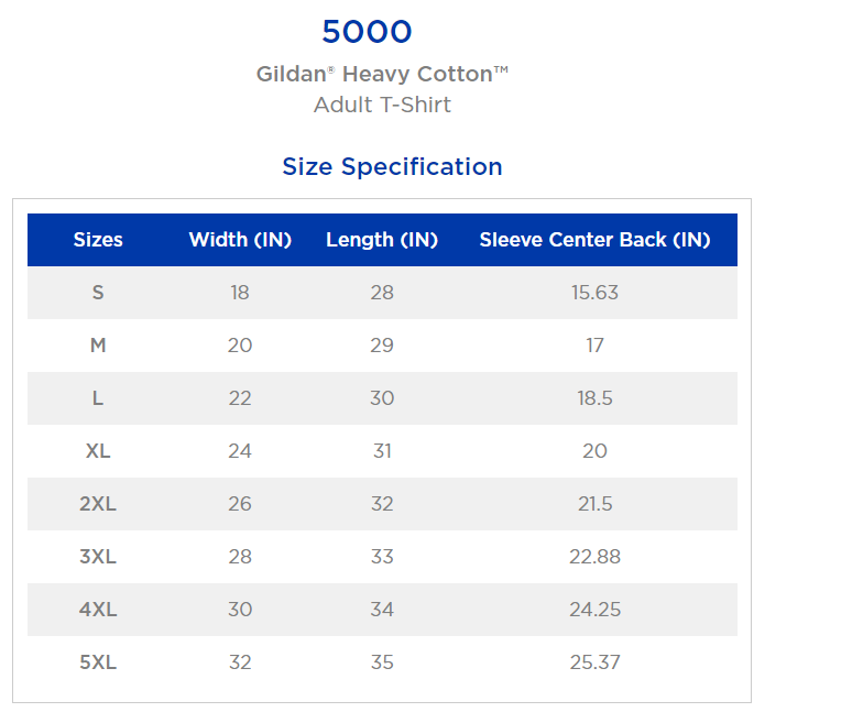 Gildan 5000 - Heavy Cotton T-Shirt Sizing Guide