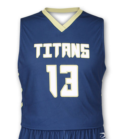 """Charge"" Custom Sublimated Basketball Jersey Front View"