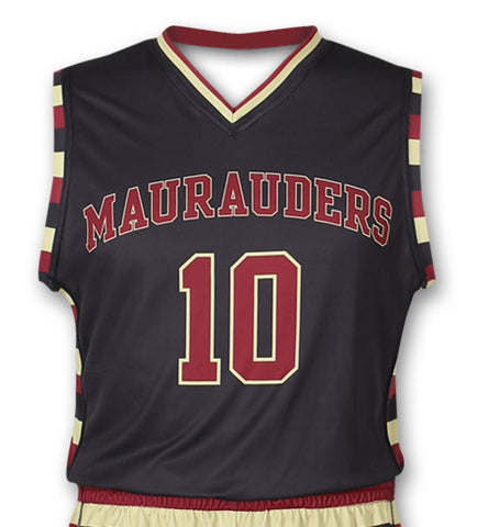 """Maurader"" Custom Sublimated Basketball Jersey Front View"